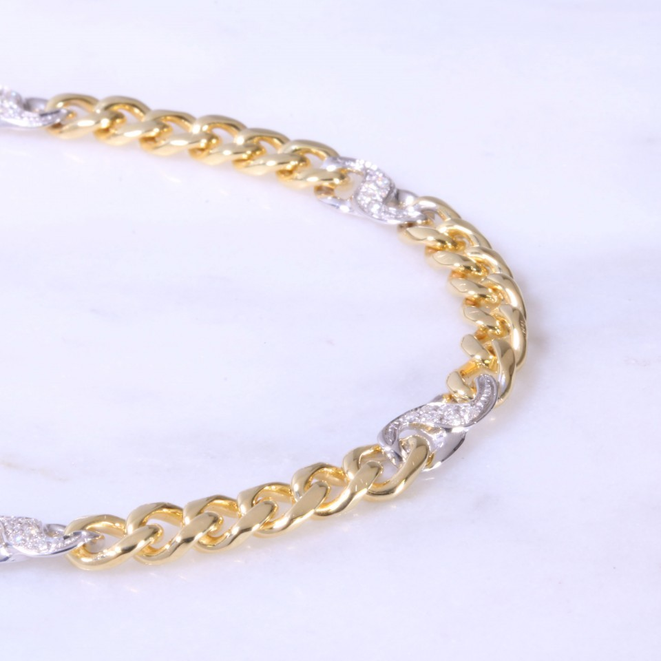 Mixed Gold Curb Link Bracelet