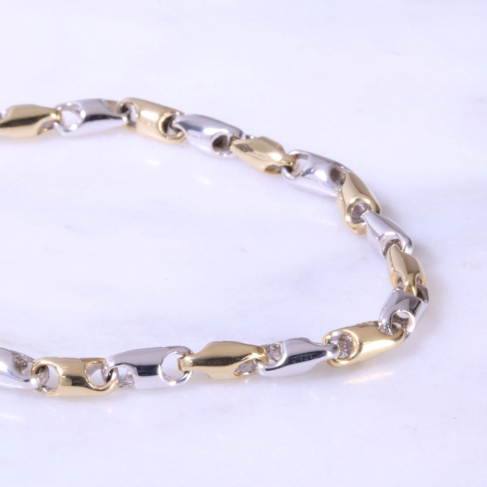 Mixed Gold Fancy Link Bracelet