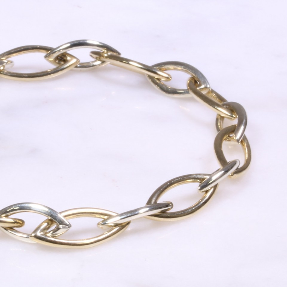 Yellow & White Gold Marquise Design Bracelet