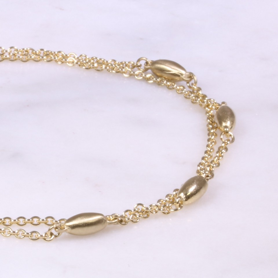Yellow Gold 2 Row Bead Bracelet