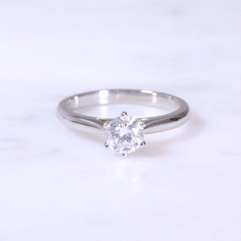 Round Brilliant Diamond 6 claw Solitaire Engagement Ring