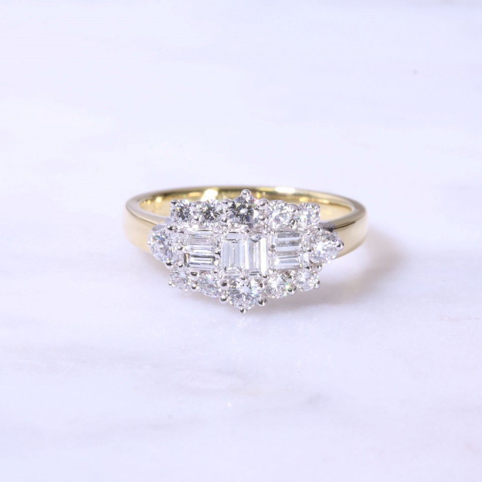 Fancy Square Design Cluster Engagement Ring
