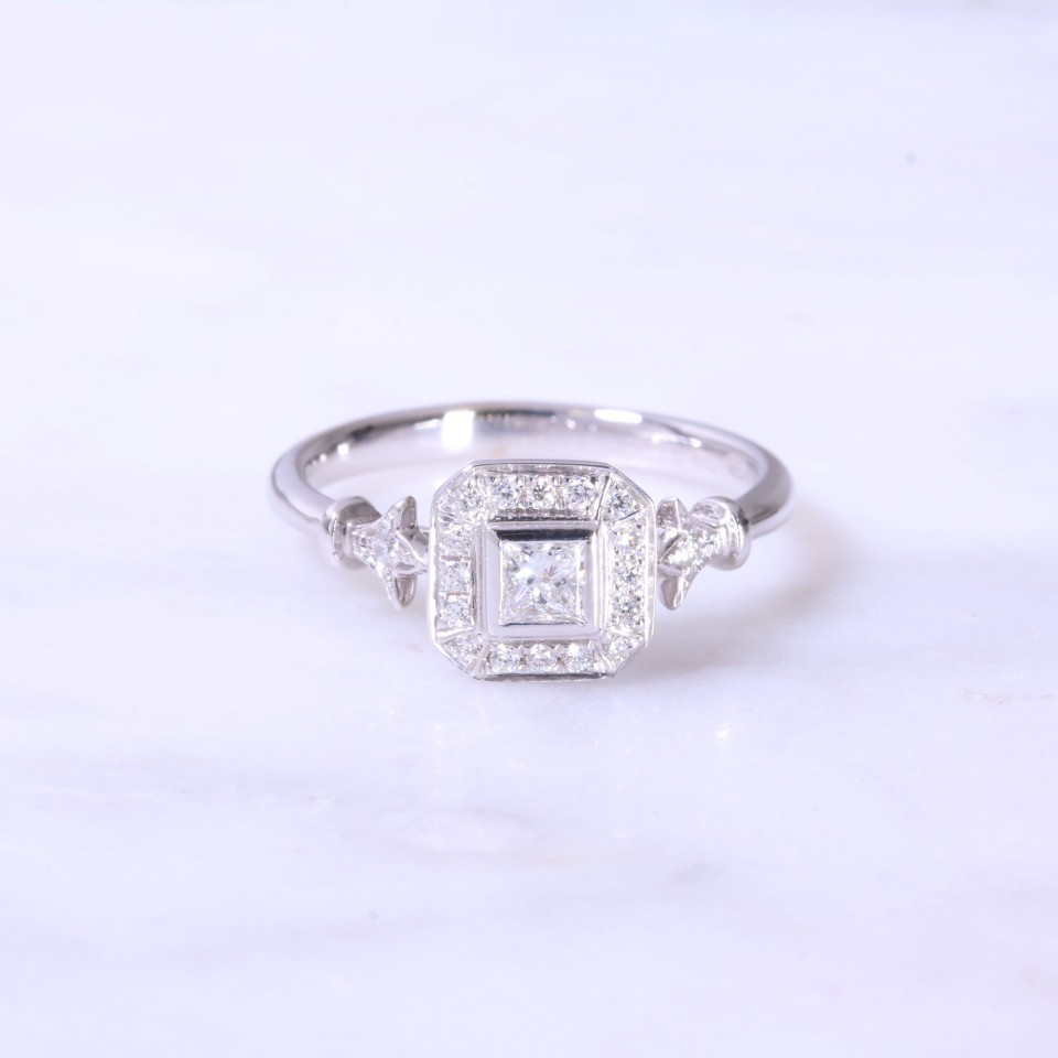 Vintage Style Princess Cut Engagement Ring