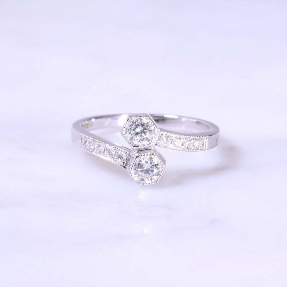 Fancy Square Emerald Cut Diamond 3 Stone Engagement Ring