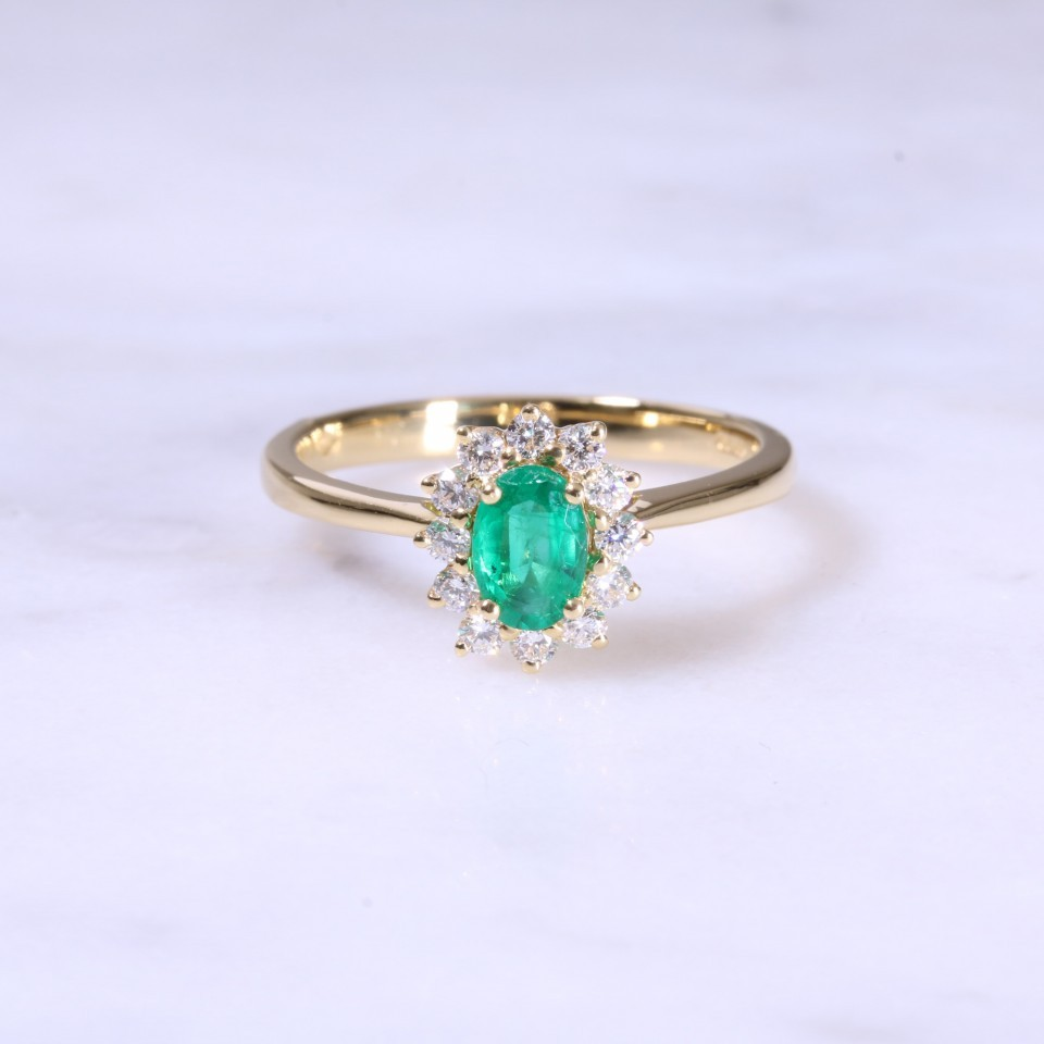 Emerald & Diamond Claw Set Cluster Ring
