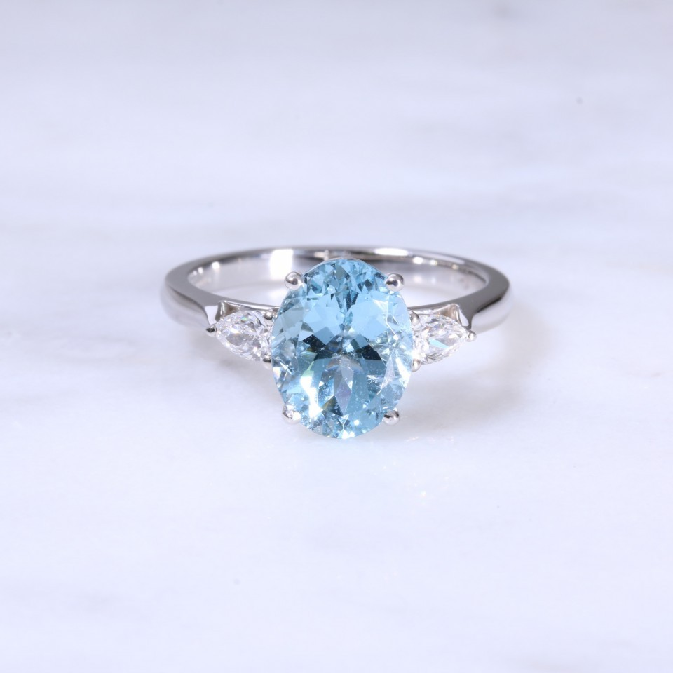 Oval Aquamarine & Pear Diamond 3 Stone Ring