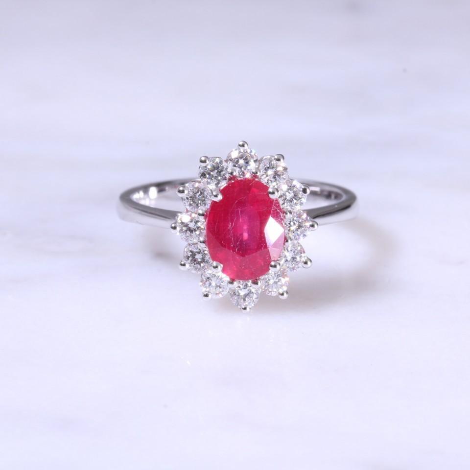 Oval Ruby Diamond Cluster Ring Lanes Jewellery Prestige