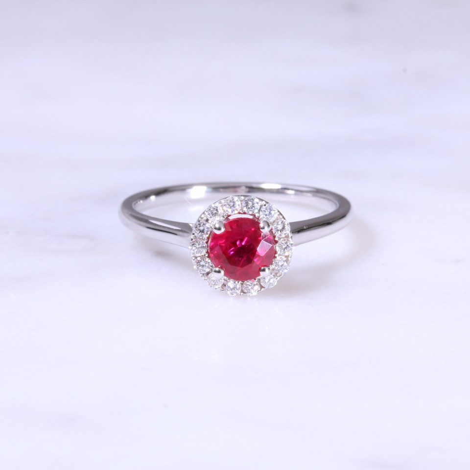 Round Ruby & Halo Cluster Ring