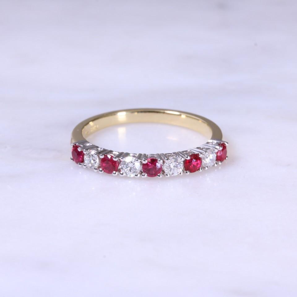 Ruby Diamond Claw Set 1 2 Eternity Ring Lanes Jewellery