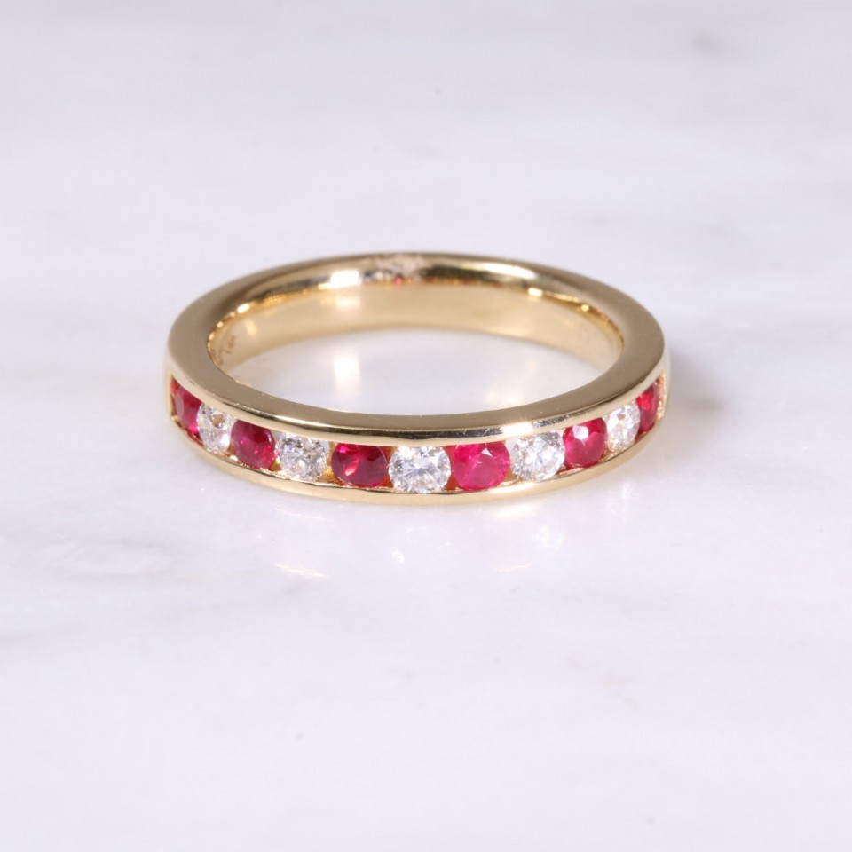 Ruby & Diamond Channel Set Half Eternity Ring