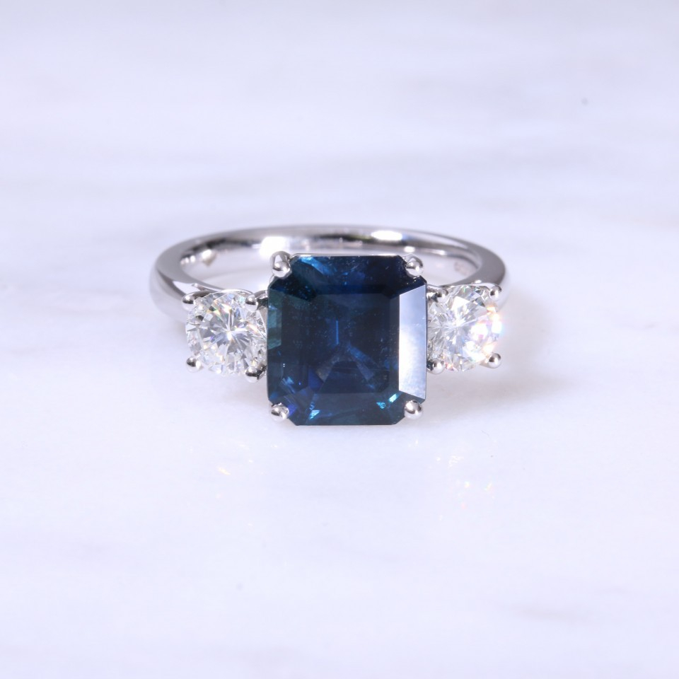Platinum Emerald Cut Sapphire & Diamond 3 Stone Ring