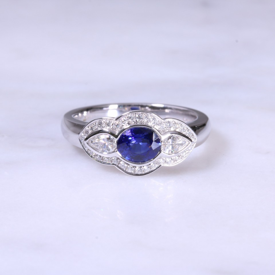 Sapphire & Pear Diamond Fancy Ring
