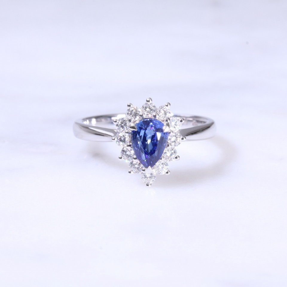 Pear Shape Sapphire & Diamond Cluster Ring