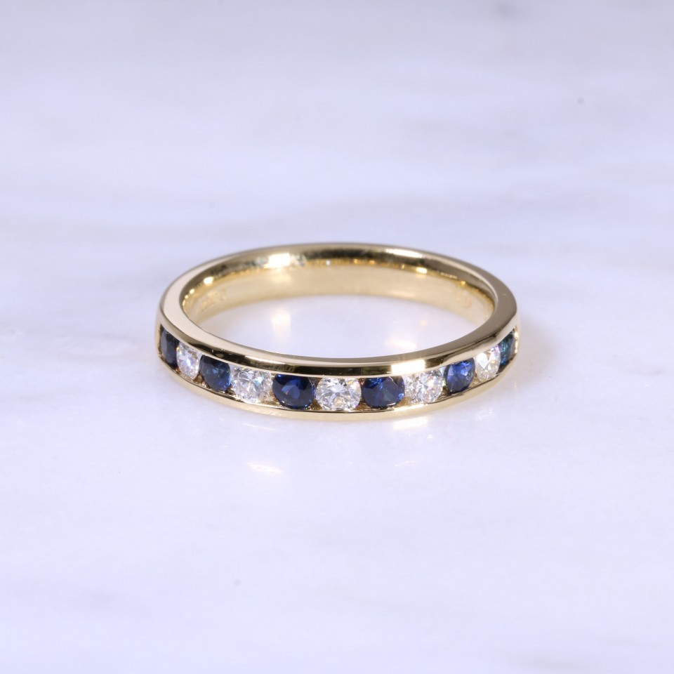 Sapphire & Diamond Channel Set 1/2 Eternity ring