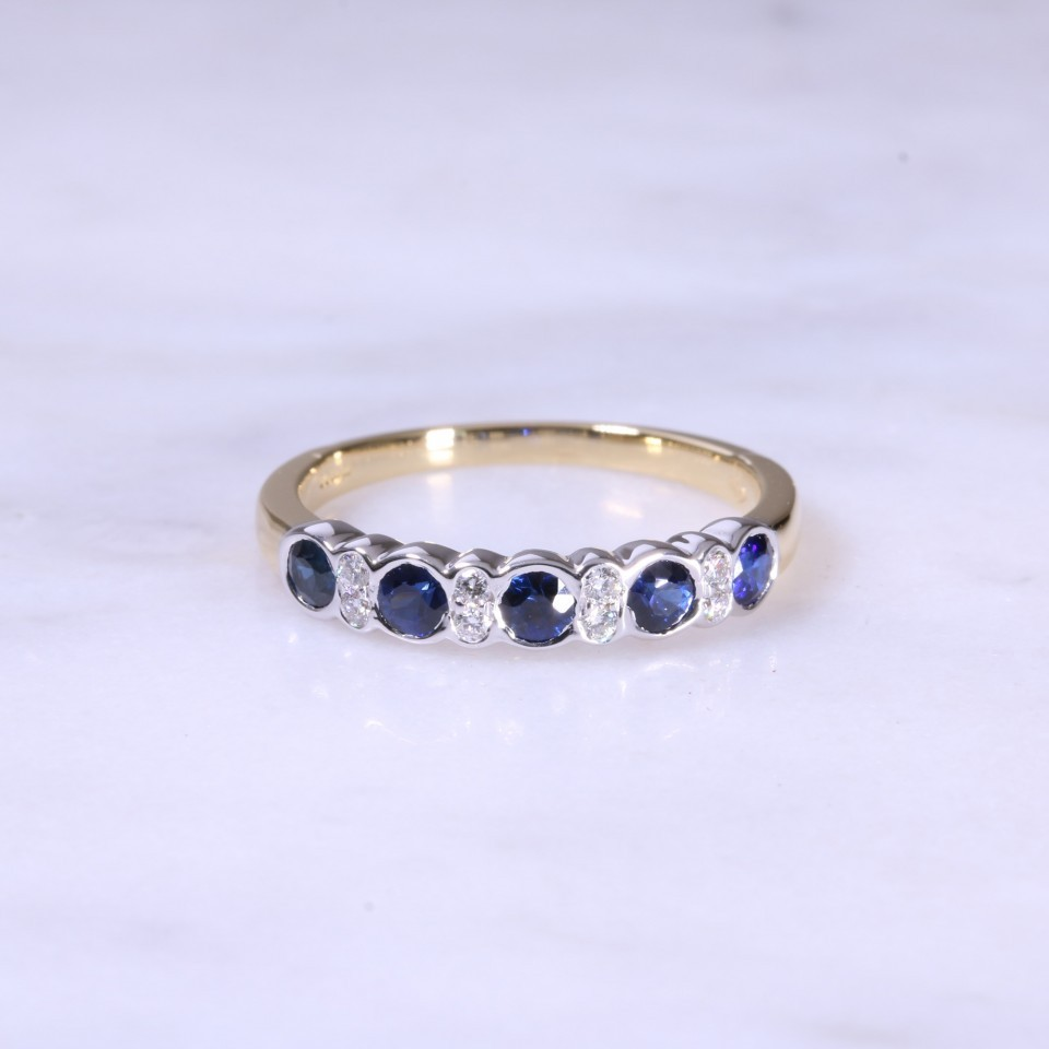 Sapphire & Diamond Fancy 1/2 Eternity Ring