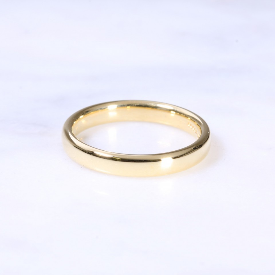 18ct 3mm Court Wedding Ring