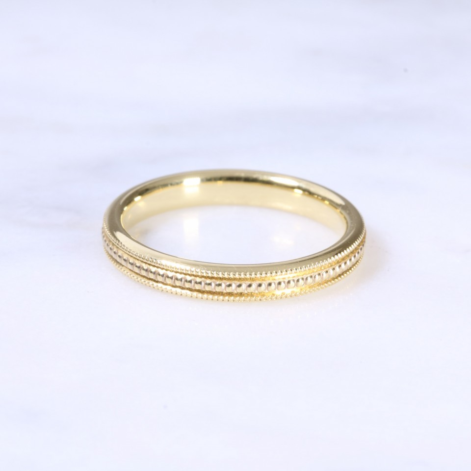 18ct 3mm Bead Wedding Band