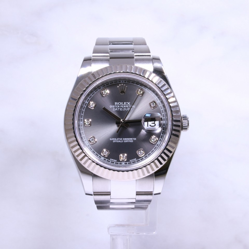 Rolex Datejust 41mm Steel & Gold 116334 Diamond Dial