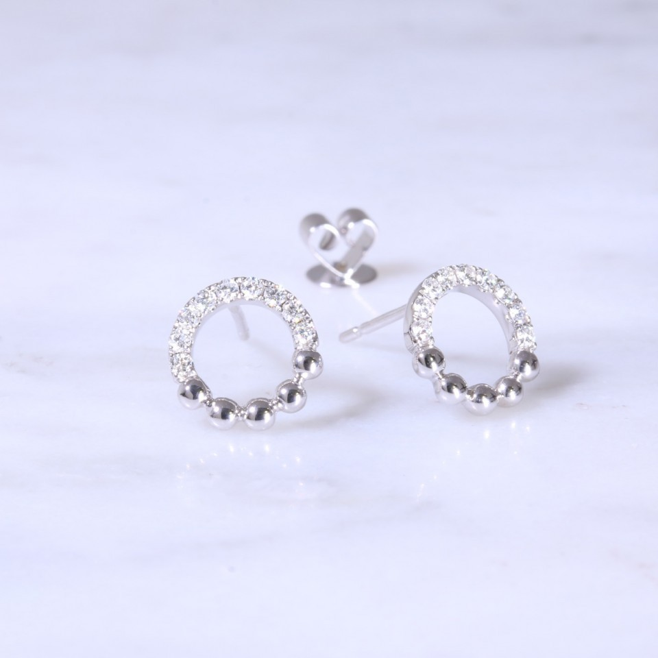 Circular Diamond Bead Earrings | Lanes Jewellery & Prestige