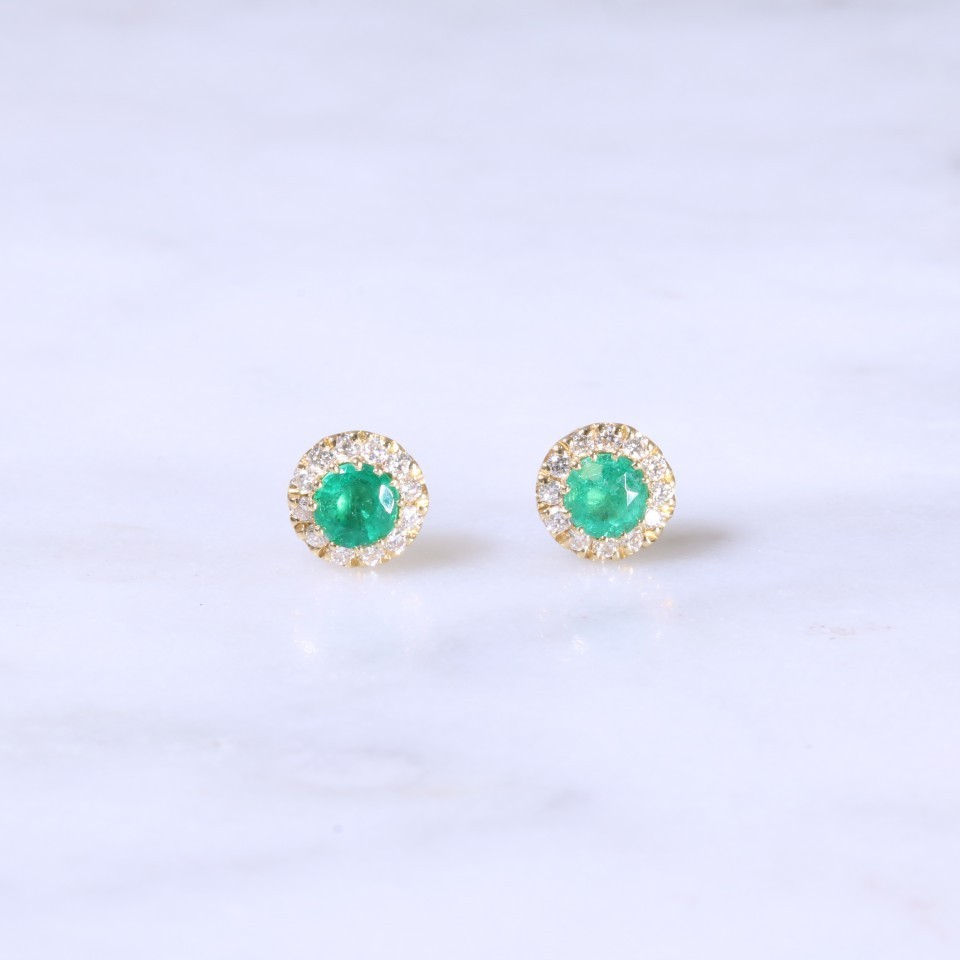 Petite Emerald & Diamond Halo Ear Studs