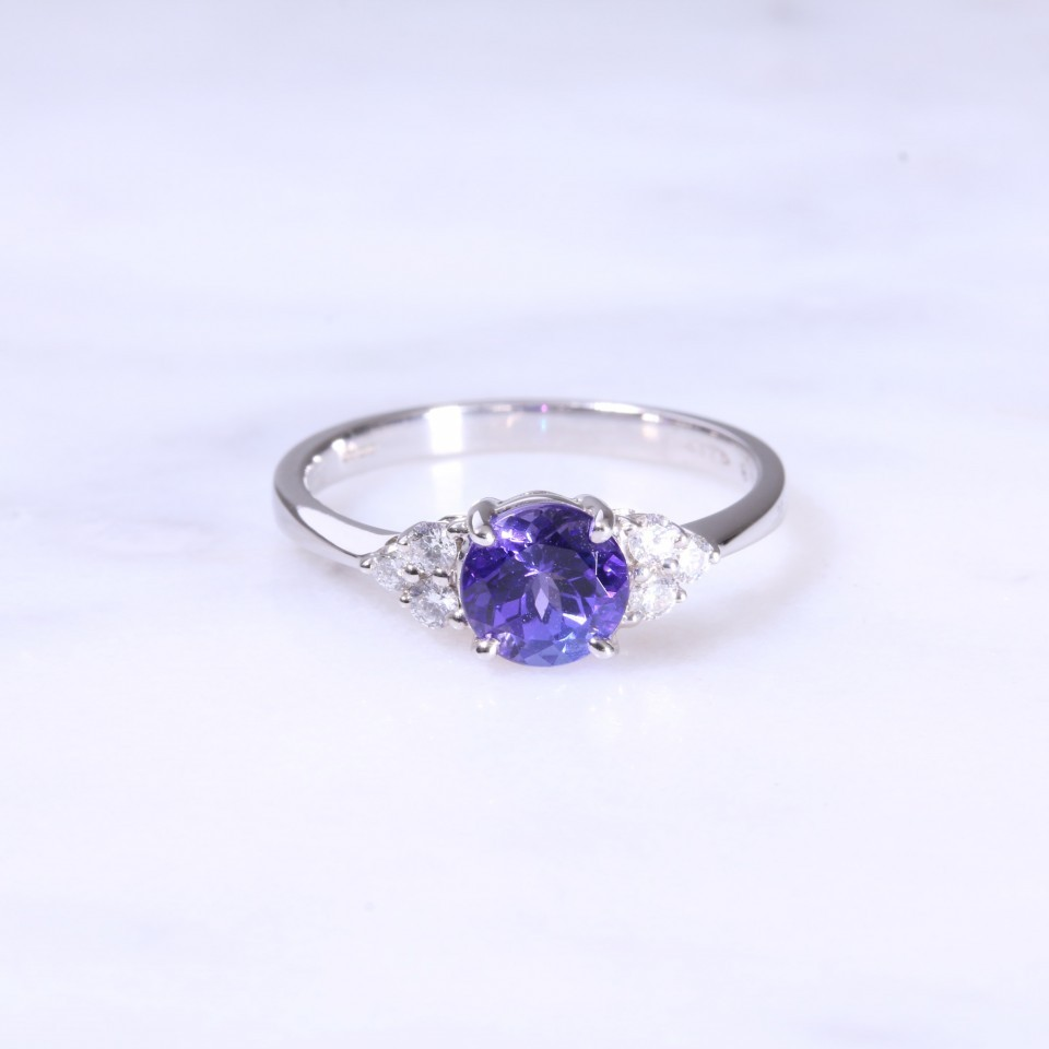 Tanzanite & Trefoil Diamond Ring