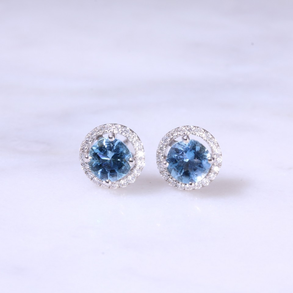 Round Aquamarine & Diamond Halo Ear Studs