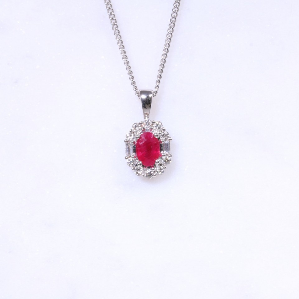 Ruby & Diamond Oval Cluster Pendant