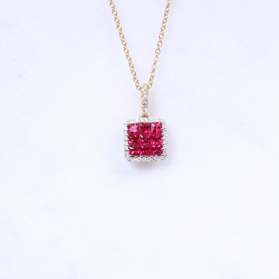 Ruby & Diamond Square Pendant