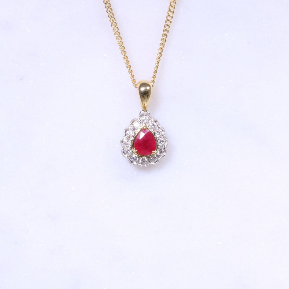 Ruby & Diamond Pear Pendant