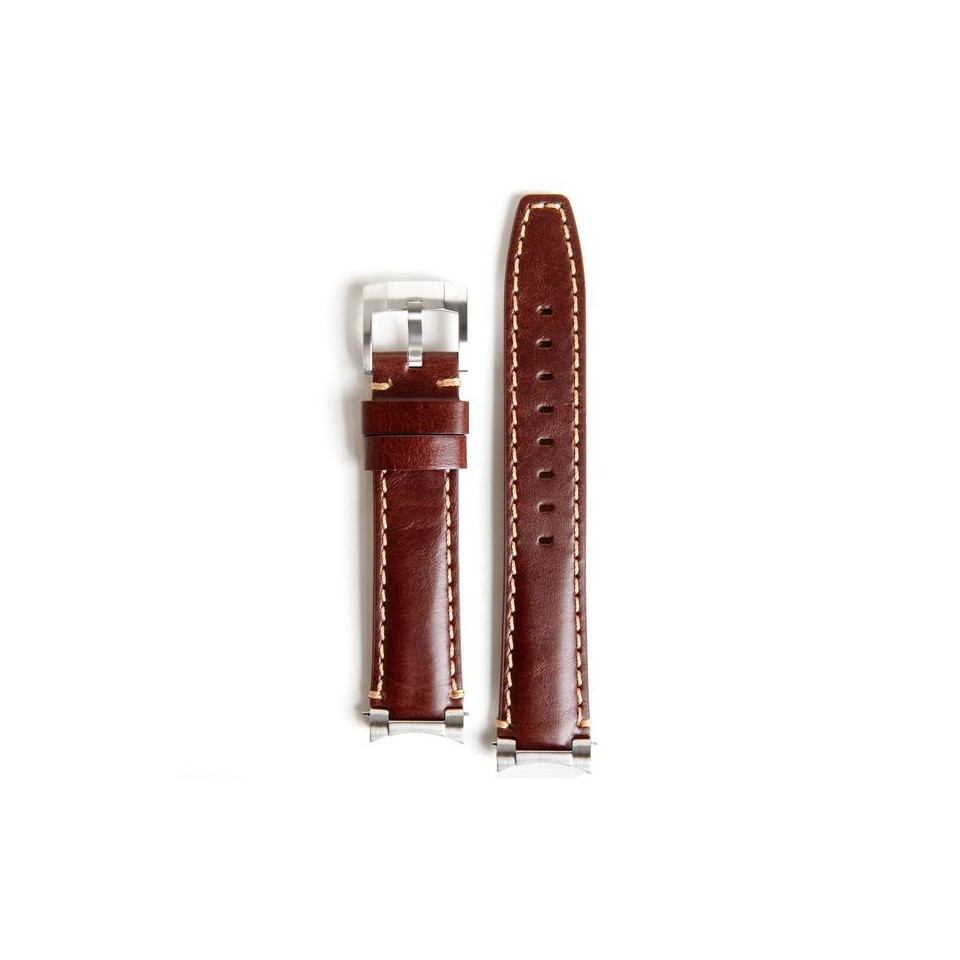 Everest Steel End Leather Strap in Brown