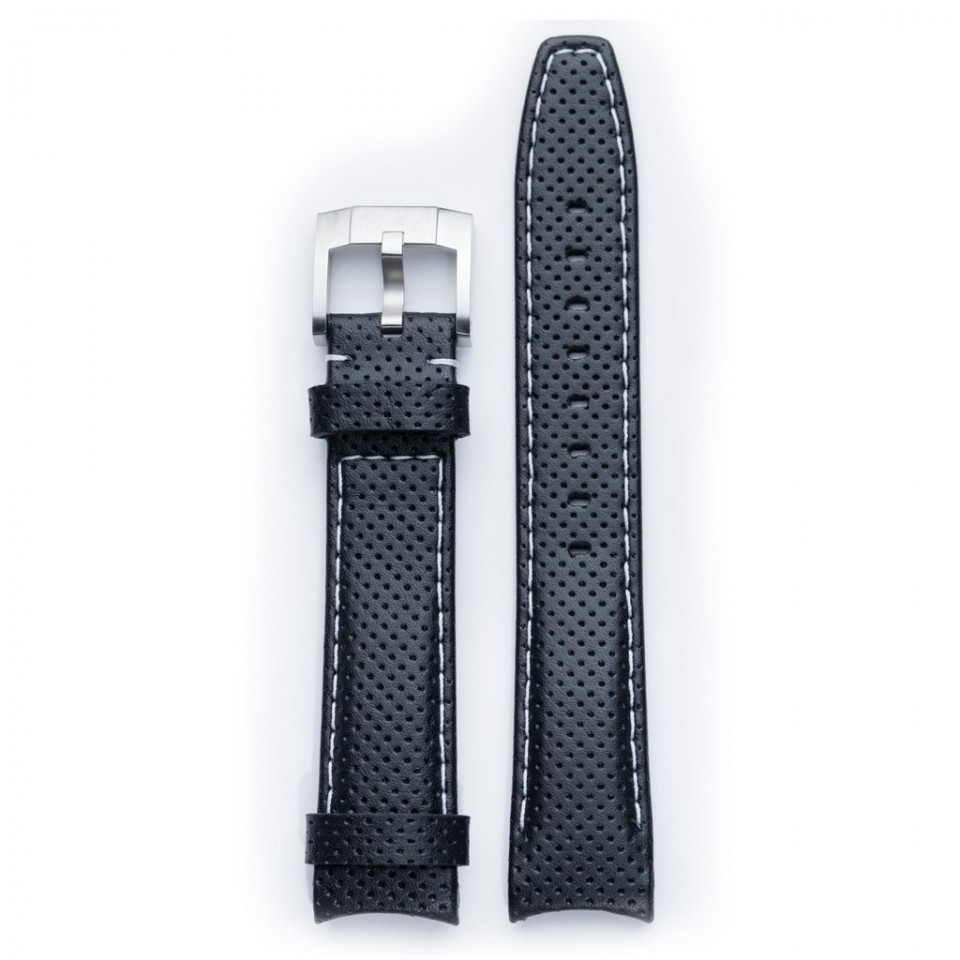 Everest Curved End Racing Leather Strap In Black & White