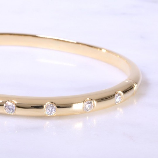 Yellow Gold Diamond Dot Bangle 5mm