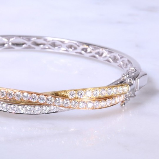 Diamond set intertwined russian gold bangle