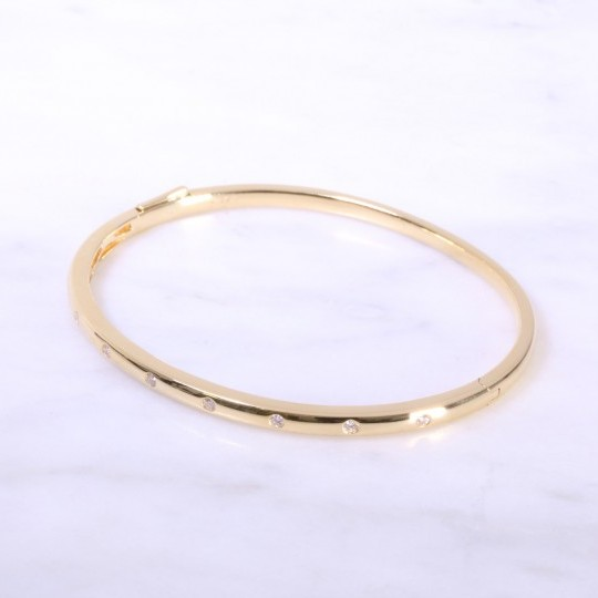 Yellow Gold Diamond Dot Bangle 3mm