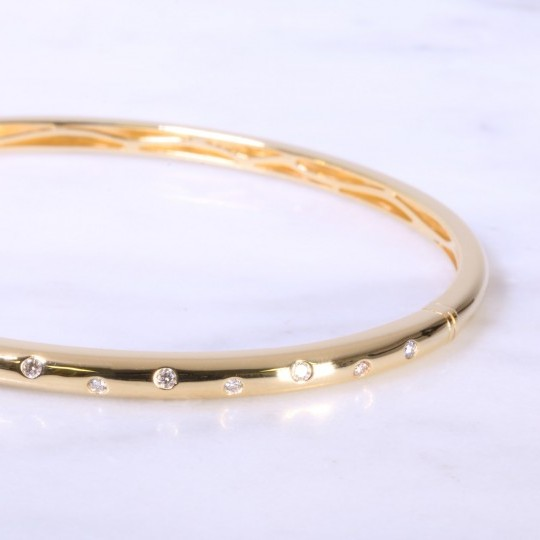 Yellow Gold Offset Diamond Dot Bangle 3mm