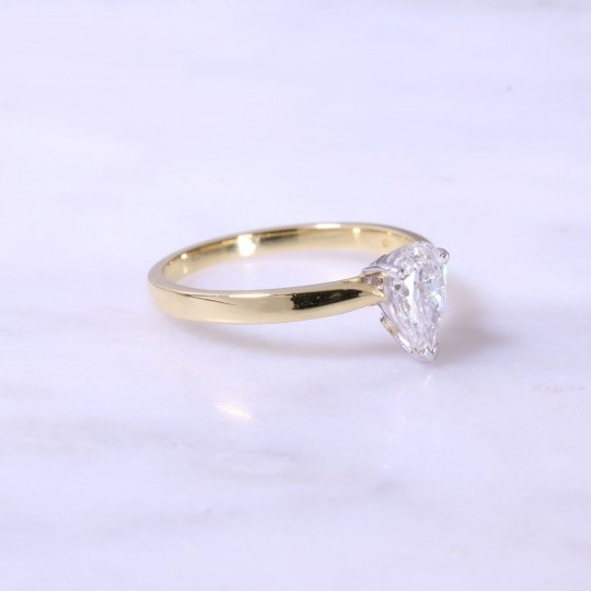 Pear Shape Solitaire Engagement Ring 0.62ct