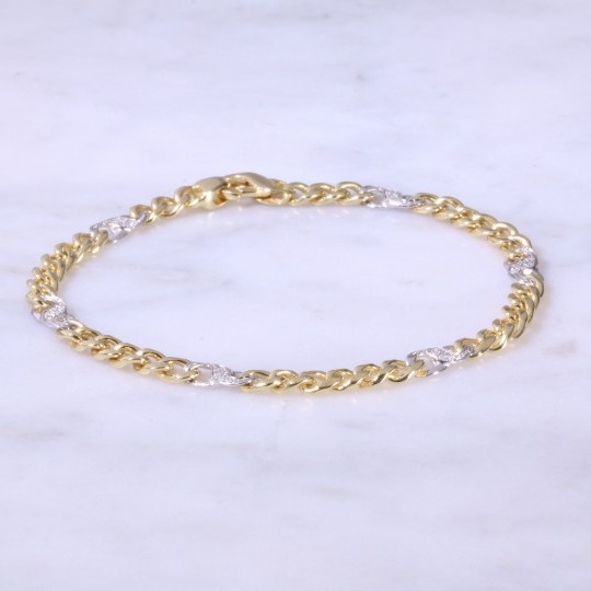 Curb & Diamond S-Link Bracelet