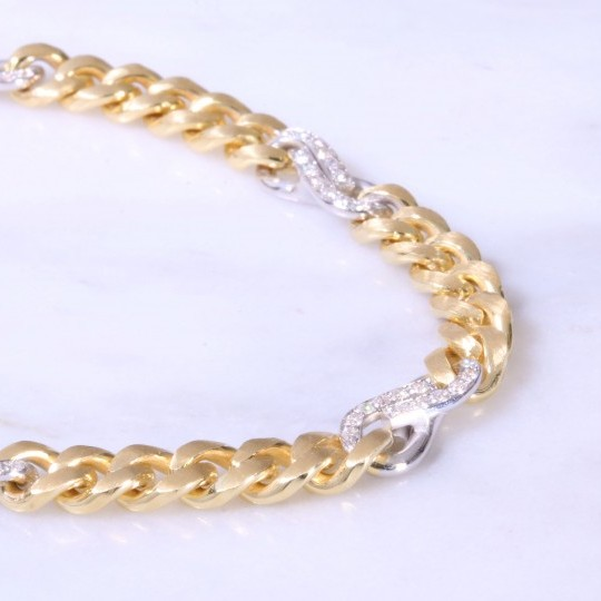 Curb & Diamond Interlink Bracelet