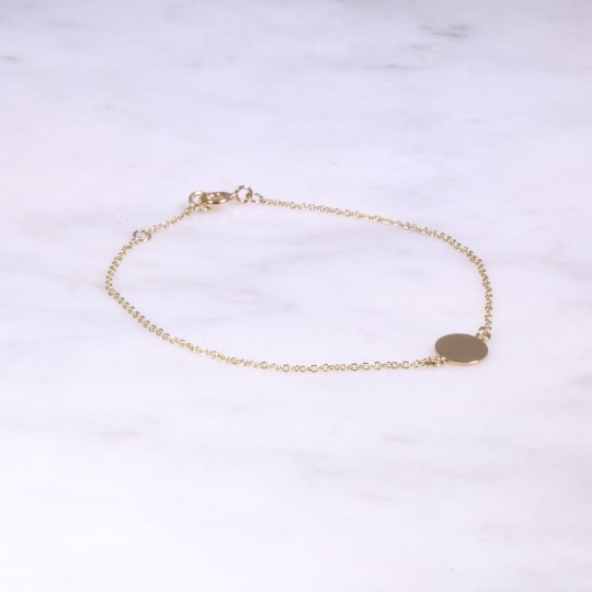 Yellow Gold Fine Bracelet With Plain Disc