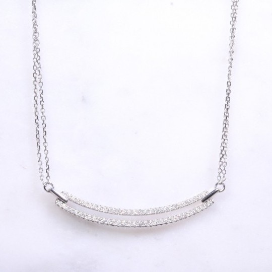 Diamond Set Double Bar Necklace