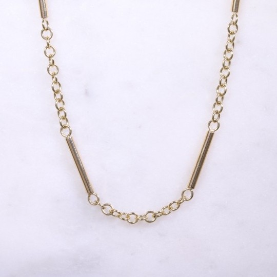 Yellow Gold Bar & Chain Necklace