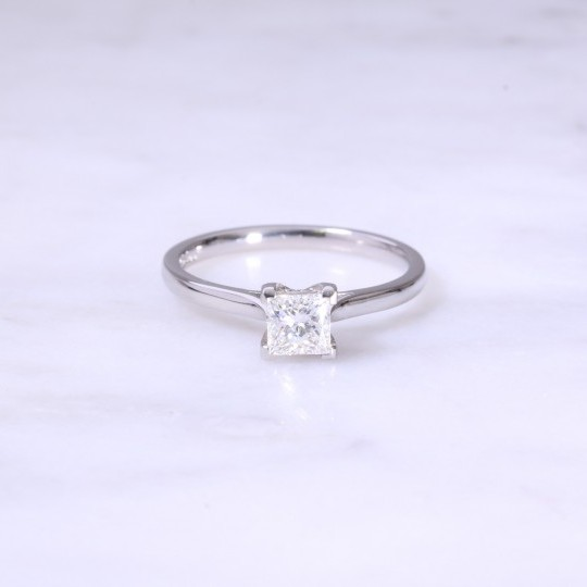 Fancy Princess Cut Diamond 4 Claw Solitaire Engagement Ring