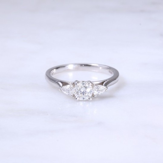 Round Brilliant & Pear Shape Diamond 3 Stone Engagement Ring
