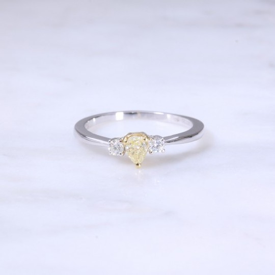 Pear Shape Yellow Diamond 3 Stone Engagement Ring