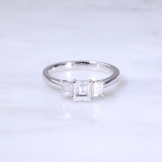 Fancy Carre Cut Diamond 3 Stone Engagement Ring