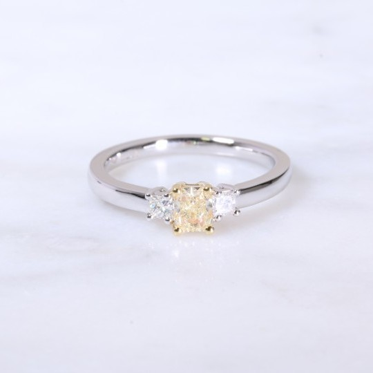 Natural yellow radiant and princess cut diamond 3 stone ring