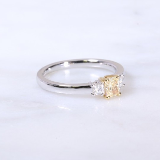 Natural yellow radiant and pricess cut diamond 3 stone engagement ring 0.51ct