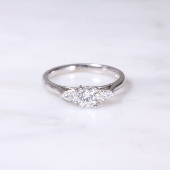 White Gold Round Brilliant & Pear Diamond Three Stone Ring
