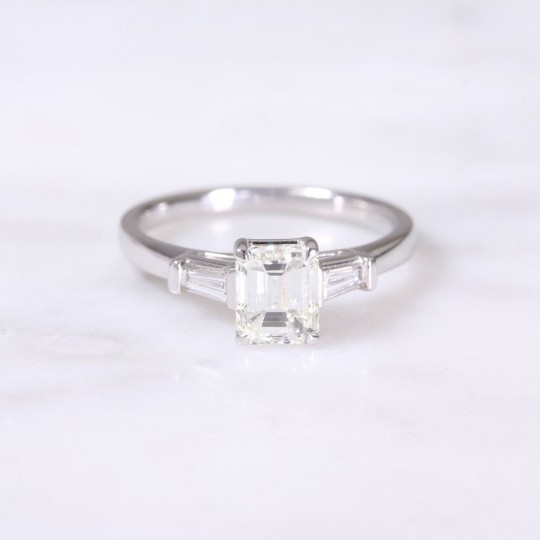 Emerald & Tapered Baguette Cut Diamond Ring