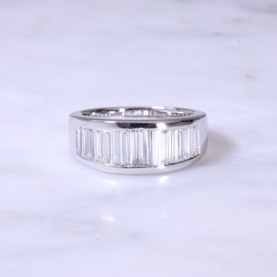 Wide Graduated Baguette Diamond Channel Set Ring